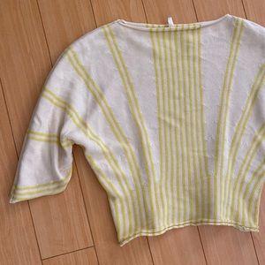 Anthro Moth yellow ivory striped sweater Medium